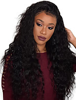 Women Human Hair Lace Wig Malaysian Remy Glueless Lace Front 130% Density With Baby Hair Water Wave Wig Black Medium For Black Women