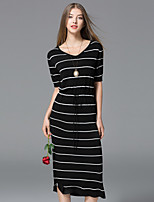 YHSP Women's Going out Casual/Daily Simple Street chic Sophisticated Bodycon Sheath DressStriped V Neck Midi Short Sleeves Polyester Fall Mid