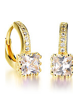 Women's Drop Earrings AAA Cubic Zirconia Classic Elegant Rhinestone Titanium Steel Square Jewelry For Wedding Evening Party