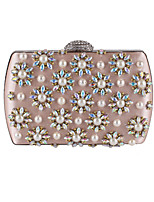 Women Bags All Seasons Polyester Evening Bag Beading Appliques Crystal Detailing for Wedding Event/Party Almond