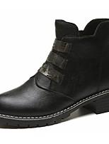 Femme Chaussures Polyuréthane Automne boîtes de Combat Bottes Block Heel Bout rond Paillette Pour Décontracté Noir