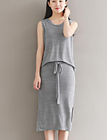 Women's Going out Casual/Daily Street chic Summer Tank Top Skirt Suits,Solid Round Neck Sleeveless Micro-elastic