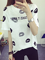 Women's Going out Casual/Daily Cute T-shirt,Print Round Neck Short Sleeves Cotton