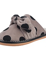 Women's Shoes Velvet Winter Fur Lining Fluff Lining Comfort Slippers & Flip-Flops Low Heel Round Toe Bowknot Pom-pom For Casual Light