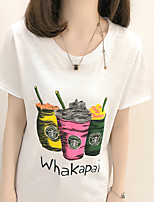 Women's Going out Cute Summer T-shirt,Print Round Neck Short Sleeves Others Opaque