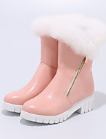 Women's Shoes PU Fall Winter Comfort Novelty Fashion Boots Boots Flat Heel Round Toe Mid-Calf Boots Feather Zipper For Outdoor Office &