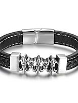 Homme Bracelets Rigides Mode Cuir Forme Géométrique Bijoux Pour Décontracté