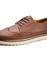 Men's Shoes Cowhide Spring Fall Comfort Oxfords Lace-up For Casual Dark Brown Light Brown Black