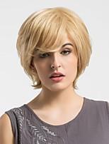 Women Human Hair Capless Wigs Beige Blonde//Bleach Blonde Short Straight