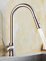 Contemporary Pull-out/­Pull-down Standard Spout Vessel Widespread Rotatable Pull out with  Ceramic Valve Nickel Brushed , Kitchen faucet