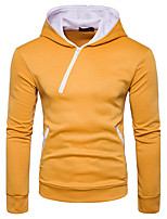 Men's Going out Casual/Daily Simple Street chic Hoodie Solid Color Block Hooded Micro-elastic Cotton Long Sleeve Fall Winter