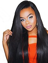 Women Human Hair Lace Wig Malaysian Human Hair 360 Frontal 130% Density With Baby Hair With Ponytail Straight Wig Black Long For Black