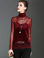 Langærmet Rullekrave Medium Damer Ensfarvet Forår Efterår Vintage Gade Sofistikerede Ferie I-byen-tøj T-shirt,Polyester Nylon