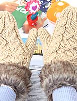 Women's Rabbit Fur Acrylic Knit Wrist Length FingertipsCasual Winter Gloves Keep Warm Fashion Knitwear Solid Winter