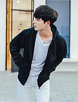 Men's Casual/Daily Hoodie Solid Hooded Micro-elastic Polyester Long Sleeve Fall