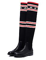 Mujer Zapatos Tejido PU Invierno Botas de Moda botas slouch Botas Tacón Bajo Tacón Robusto Dedo redondo Sobre la Rodilla Combinación Para