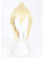 Donna Parrucche sintetiche Senza tappo Pantaloncini Kinky liscia Biondo Parrucca di treccine Con la coda di cavallo Parrucca Cosplay