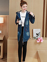 Women's Casual/Daily Street chic Fall Denim Jacket,Print Hooded Long Sleeve Long Cotton
