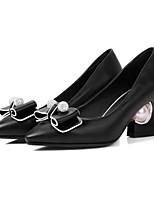 Femme Chaussures Polyuréthane Printemps Automne Confort Nouveauté Chaussures à Talons Gros Talon Bout pointu Noeud Perle Pour Mariage