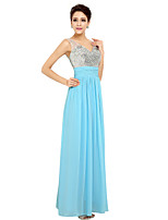 A-Line V-neck Ankle Length Chiffon Formal Evening Dress with Beading by Sarahbridal