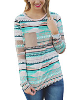 Women's Going out Casual/Daily Simple Street chic Fall T-shirt,Print Round Neck Long Sleeves Polyester
