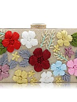 Women Bags All Seasons Polyester Evening Bag Embroidery Flower(s) for Event/Party Gold Black Silver