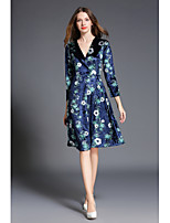 SHE IN SUN Women's Casual/Daily Chinoiserie Swing Dress,Floral V Neck Midi Long Sleeves Polyester Spring Fall High Rise Inelastic Medium