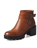 Women's Shoes Leatherette Fall Winter Fashion Boots Bootie Boots Chunky Heel Round Toe Booties/Ankle Boots For Casual Outdoor Brown Black