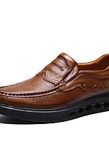 Men's Shoes Nappa Leather Fall Winter Comfort Loafers & Slip-Ons Ruffles For Casual Party & Evening Dark Brown Light Brown
