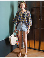 Women's Going out Simple Summer Shirt,Check V Neck Half Sleeves Polyester Thin
