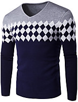 Men's Plus Size Simple Regular Pullover,Print Houndstooth Round Neck Long Sleeves Cotton Fall Winter Medium Stretchy