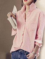 Women's Holiday Casual/Daily Simple Street chic Shirt,Solid Shirt Collar Long Sleeves Cotton