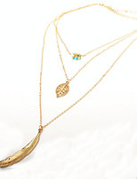 Women's Pendant Necklaces Layered Necklaces Leaf Alloy Metallic Vintage Jewelry For Daily Casual