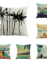 Set Of 6 Tropical Summer Beach Pillow Cover Creative Sandbeach Pillow Case Home Decor