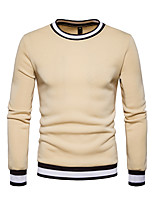 Men's Casual/Daily Simple Sweatshirt Solid Color Block Round Neck Micro-elastic Polyester Long Sleeve Spring Fall