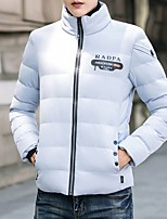 Men's Regular Padded Coat,Simple Going out Casual/Daily Solid Camouflage-Polyester Polyester Long Sleeves