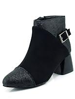 Feminino Sapatos Paetês Courino Outono Inverno Botas da Moda Curta/Ankle Botas Salto Grosso Dedo Fechado Botas Curtas / Ankle Ziper