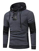 cheap -Men's Plus Size Going out Casual/Daily Hoodie Color Block Hooded Hoodies Micro-elastic Cotton Long Sleeve Spring/Fall