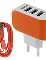 eu plug phone usb chargeur chargeur kit multi ports 100 cm 3 sorties 3 usb ports 3.1a ac 100v-240v