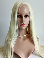 Women Human Hair Lace Wig Eurasian Human Hair Lace Front 130% Density Straight Wig Blonde Long