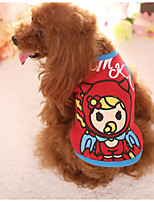 Dog Vest Dog Clothes Casual/Daily Cartoon Light Blue Blushing Pink Blue Red Fuchsia