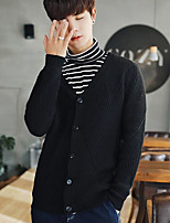 Men's Casual/Daily Regular Cardigan,Solid V Neck Long Sleeves Others Spring Winter Medium Micro-elastic