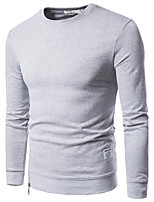 Men's Plus Size Casual/Daily Sweatshirt Solid Round Neck Micro-elastic Cotton Long Sleeve Fall