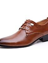 Masculino sapatos Couro Primavera Outono Sapatos formais Oxfords Cadarço Para Casual Preto Marron