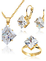 Women's Fashion Simple Style Crystal Gold Plated Earrings Necklace For Wedding Daily Wedding Gifts
