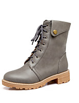 Women's Shoes Leatherette Winter Fashion Boots Boots Chunky Heel Round Toe Mid-Calf Boots For Casual Dress Yellow Gray Black