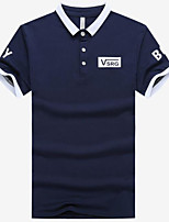 Men's Going out Simple Polo,Color Block Shirt Collar Short Sleeves Others