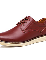 Men's Shoes Cowhide Spring Fall Comfort Oxfords Lace-up For Casual Burgundy Light Brown Black