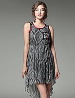 Damen A-Linie Kleid-Ausgehen Lässig/Alltäglich Street Schick Geometrisch Rundhalsausschnitt Asymmetrisch Ärmellos Seide Sommer Hohe