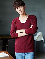 Men's Work Simple Regular Pullover,Solid U Neck Long Sleeves Others Spring Medium Micro-elastic